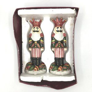 SET of 2 Ceramic Nutcracker Candle Holders Holiday